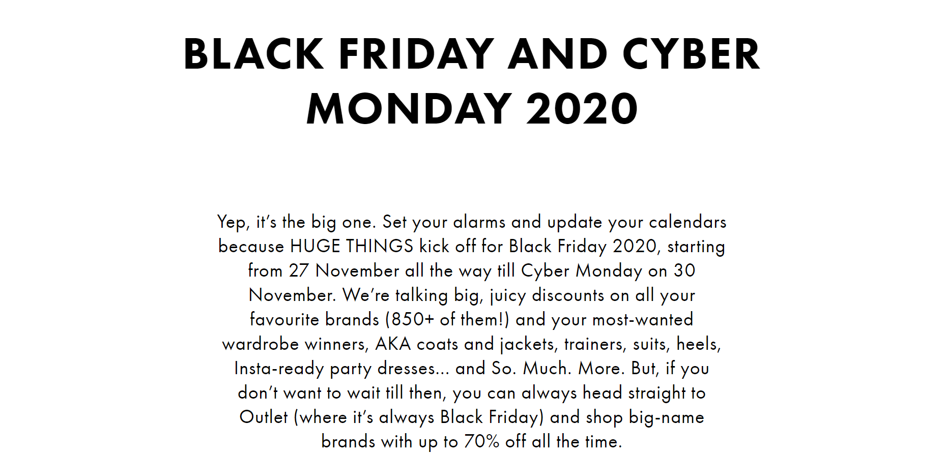Asos Black Friday example