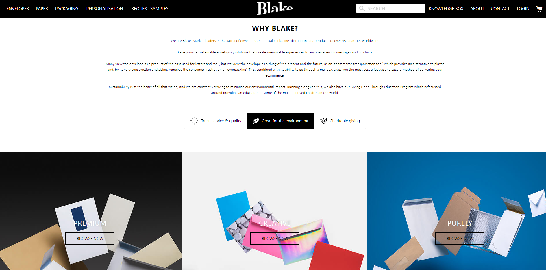 Blake envelopes website example