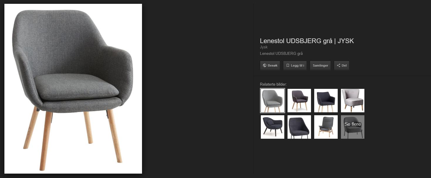 Unified Commerce blogg eksempel bildesøk grå stol med eik ben