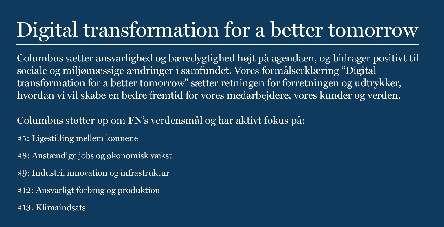 Digital transformation for a better tomorrow