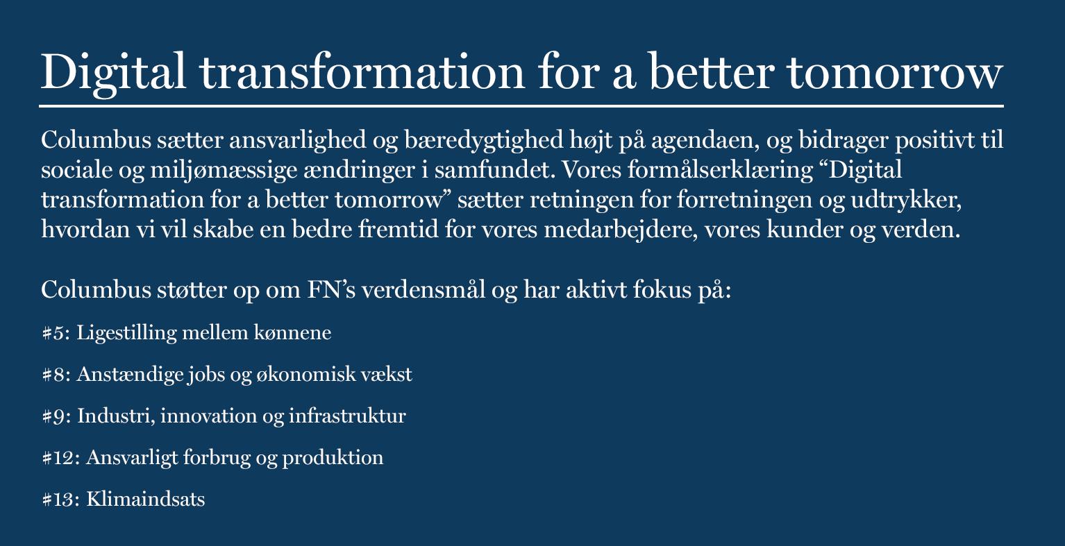 Digital transformation for a better tomorrow