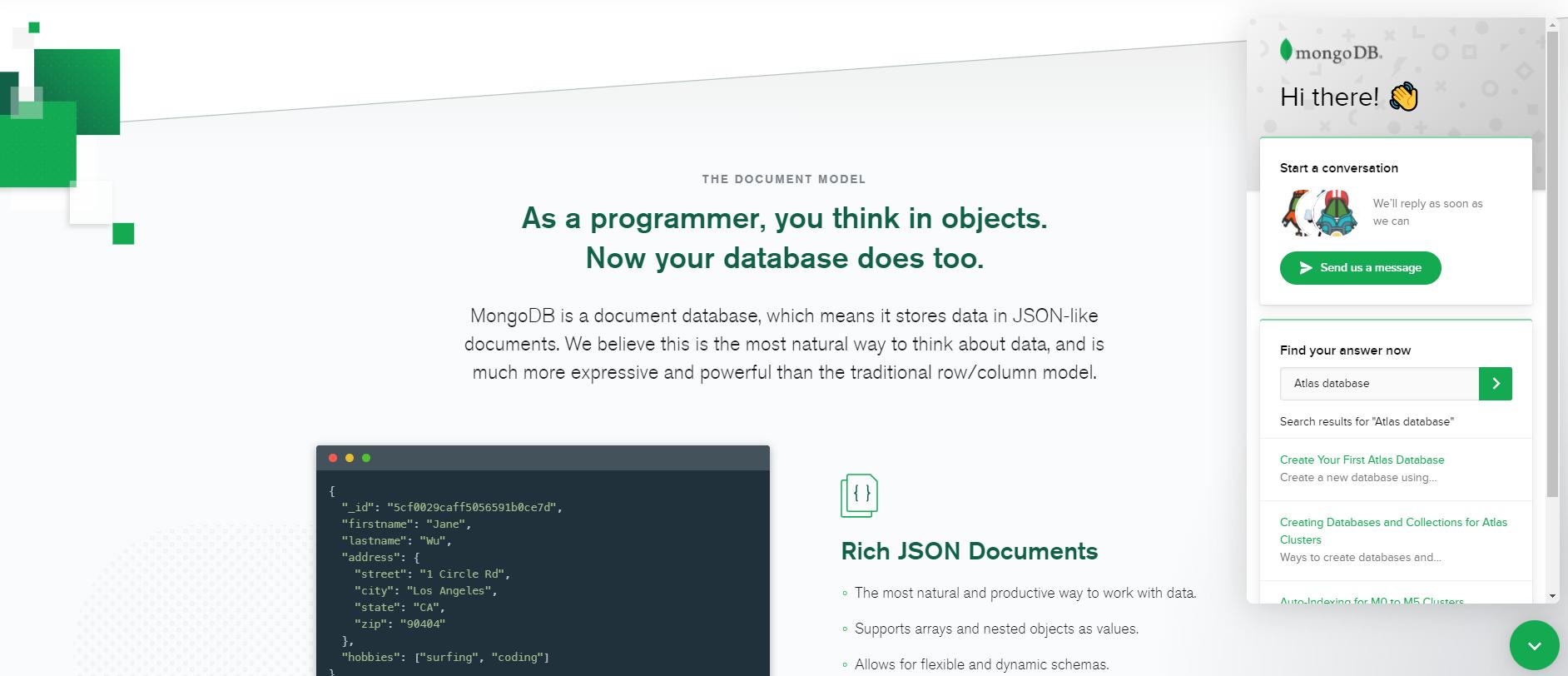 MongoDB chatbot example