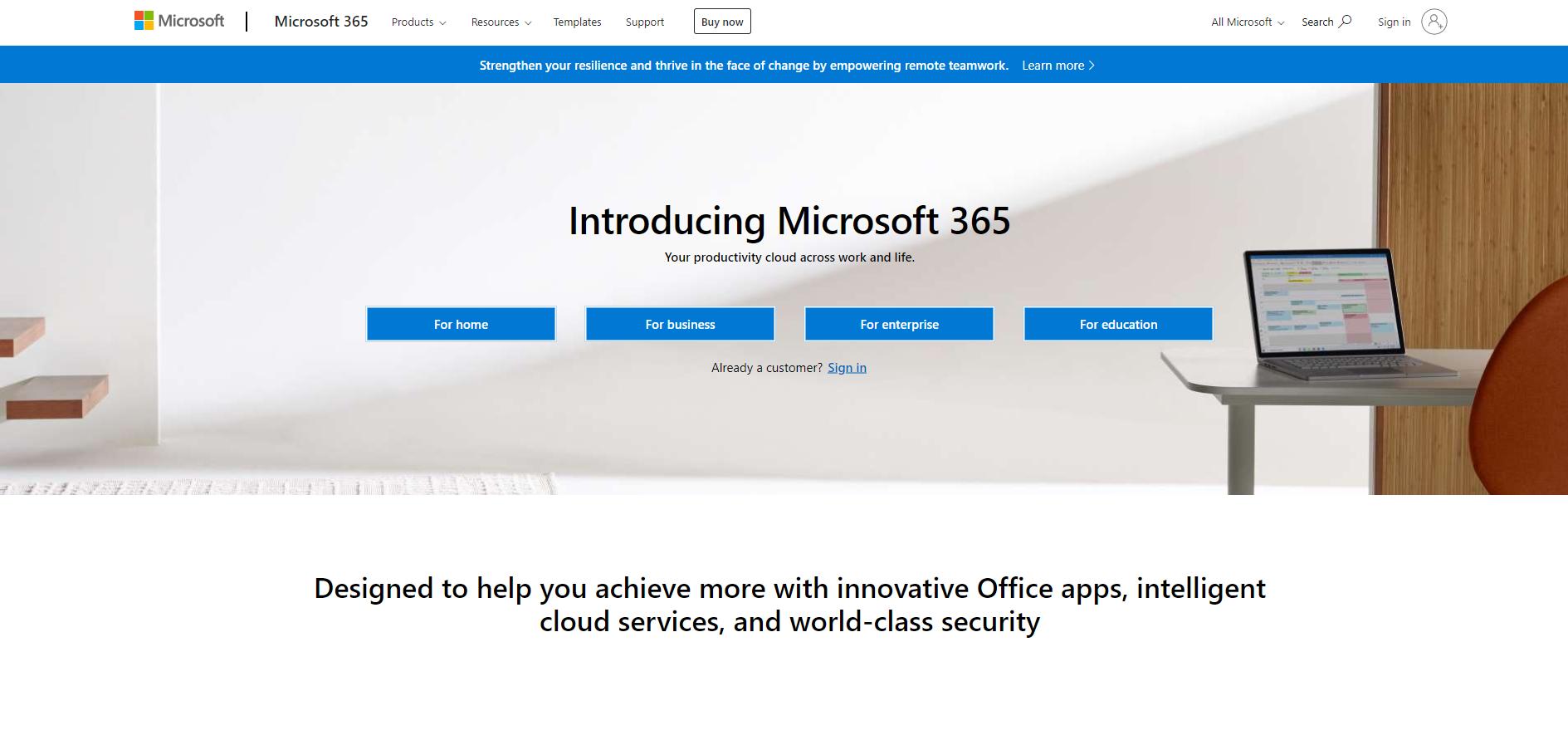 Microsoft website example