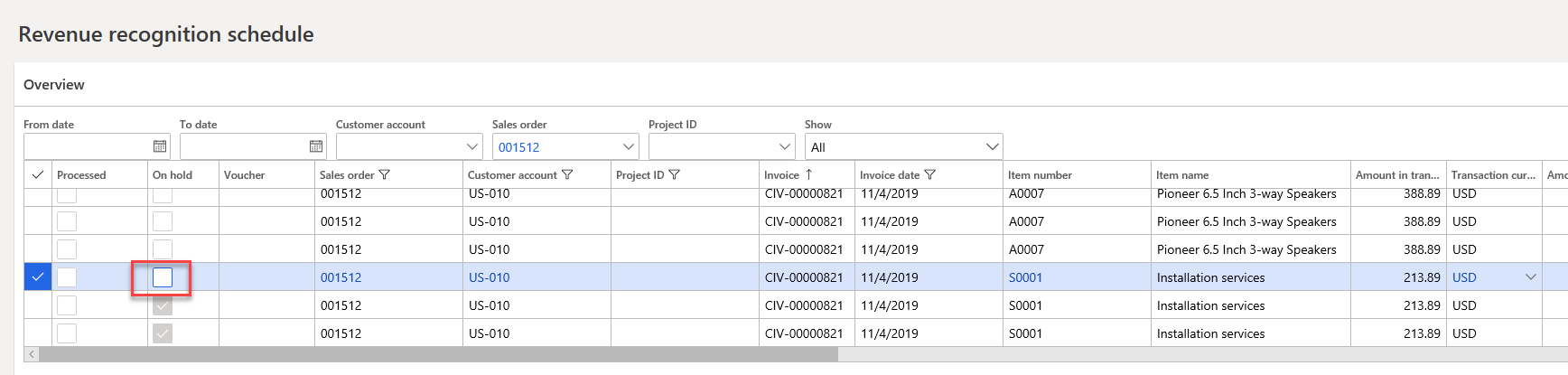 Microsoft-Dynamics-365-revenue-recognition-schedule-first-occurence
