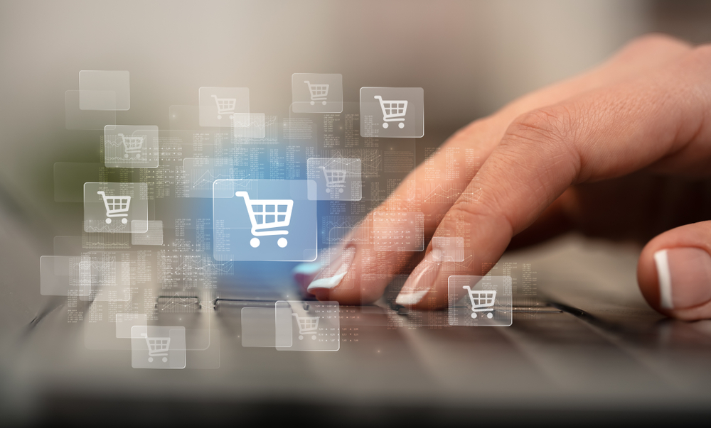 Business woman hand typing on keyboard with online shopping concept-2