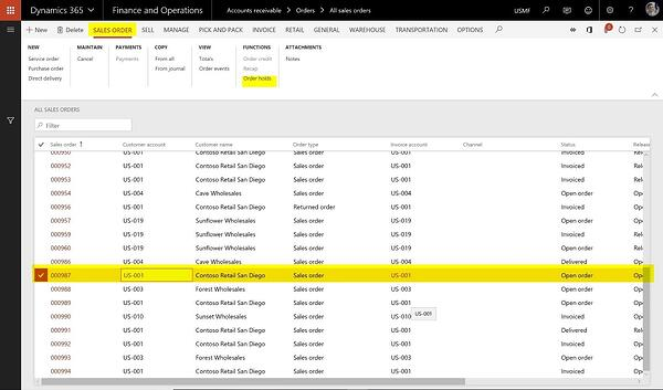 How to manage sales order holds in Microsoft Dynamics 365