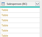Salesperson table | Microsoft D365 | Power BI